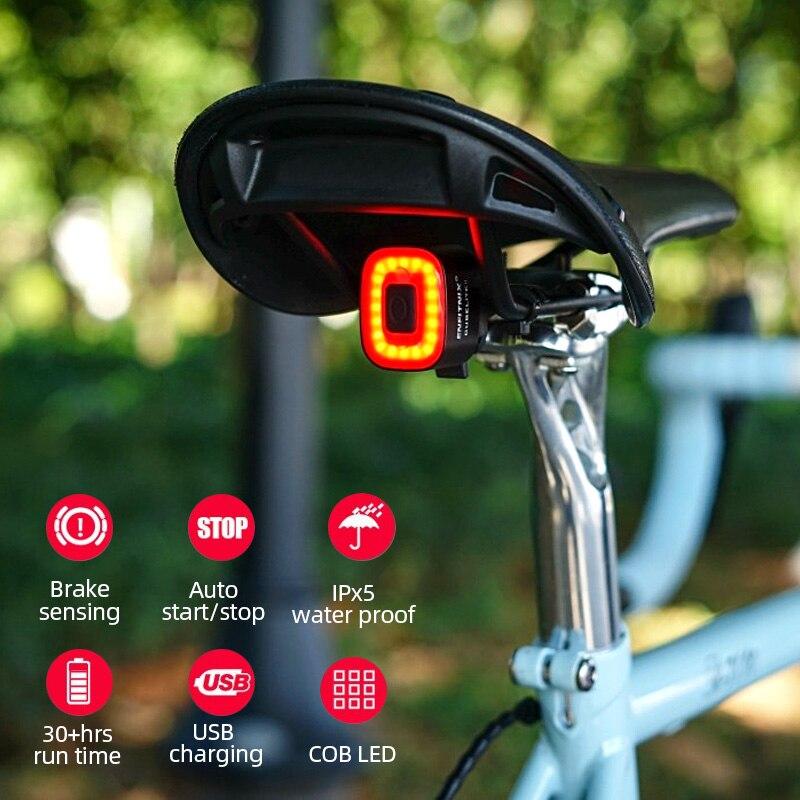 Water Proof Smart Rear Bike Light Auto Brake Sensing Aluminium Housing