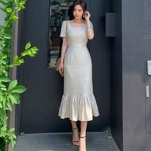 Цельное корейское платье 2020 новое летнее элегантное женское