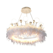 New Nordic Style Led Feather Crystal Chandelier Living Room, Bedroom, Dining Room, Creative Home Decoration