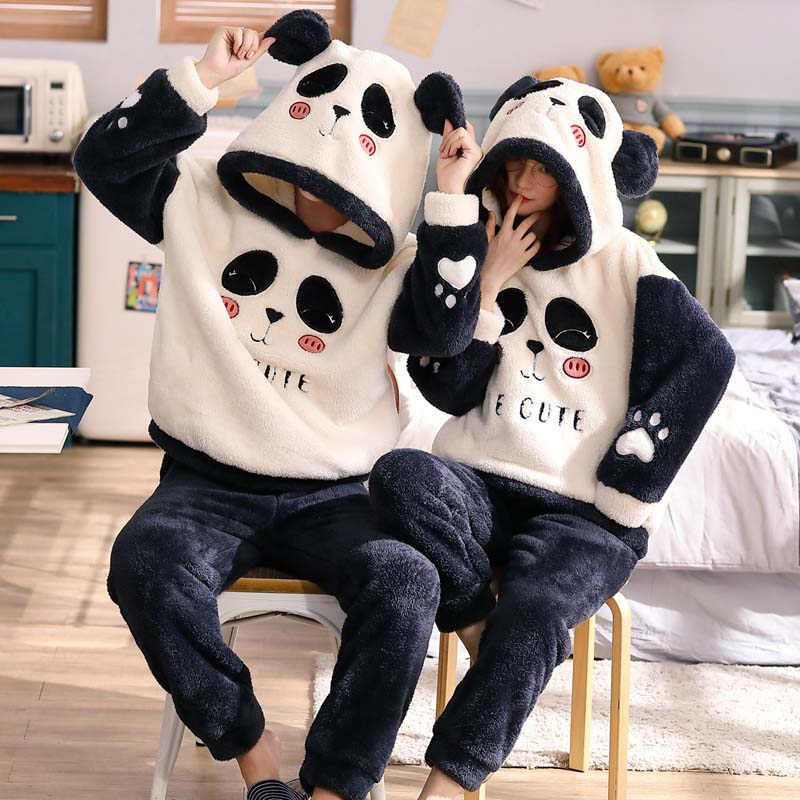 Winter Couple Pajamas Velvet Thicken Hooded Pajamas Set Unisex Adult Sleepwear Cute Cartoon Flannel Warm Femme Home Clothes