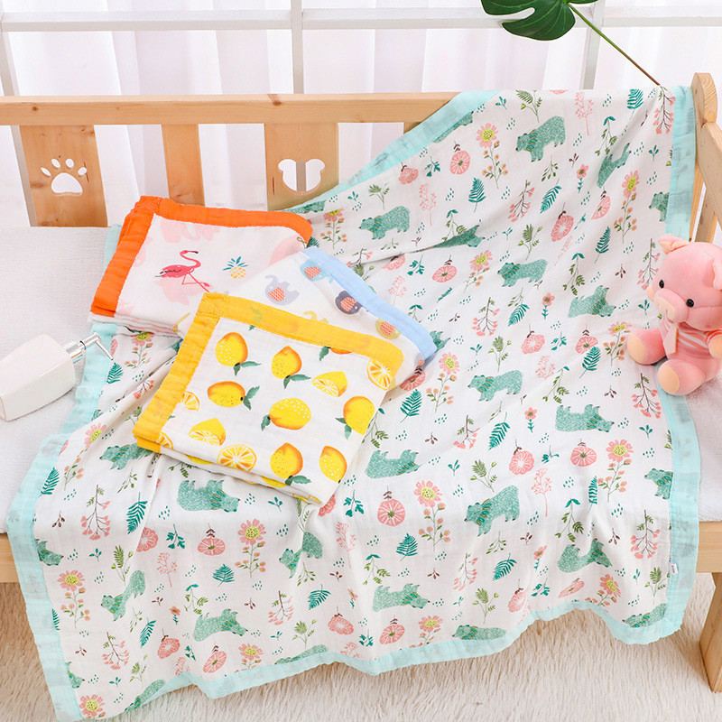 110x120cm 4 And 6 Layers Muslin Bamboo Cotton Newborn Baby Receiving Blanket Swaddling Kids Children Baby Sleeping Blanket