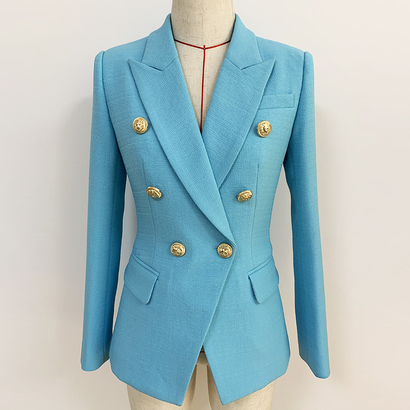 HIGH QUALITY Newest 2020 Runway Designer Blazer Jacket Women's Classic Lion Buttons Double Breasted Slim Fitting Blazer