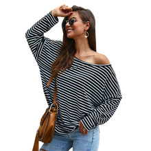 Autumn Casual Long Sleeve Striped Print Female T-shirt Fashion Women's T-shirts 2019 Loose Sexy Off the Shoulder Tops Clothes off the shoulder criss cross striped t shirt