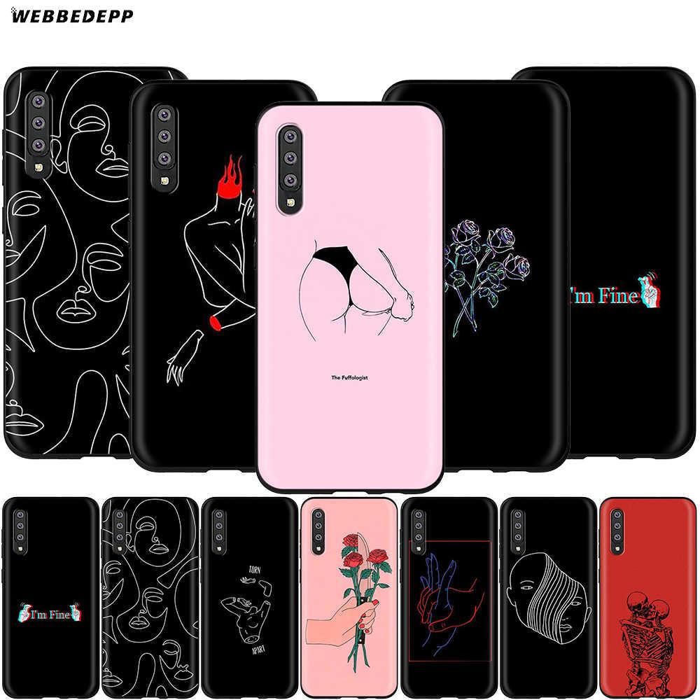 Webbedepp Abstracte Lijn Gezicht Case Voor Samsung Galaxy S7 S8 S9 S10 Plus Rand Note 10 8 9 A10 A20 a30 A40 A50 A60 A70