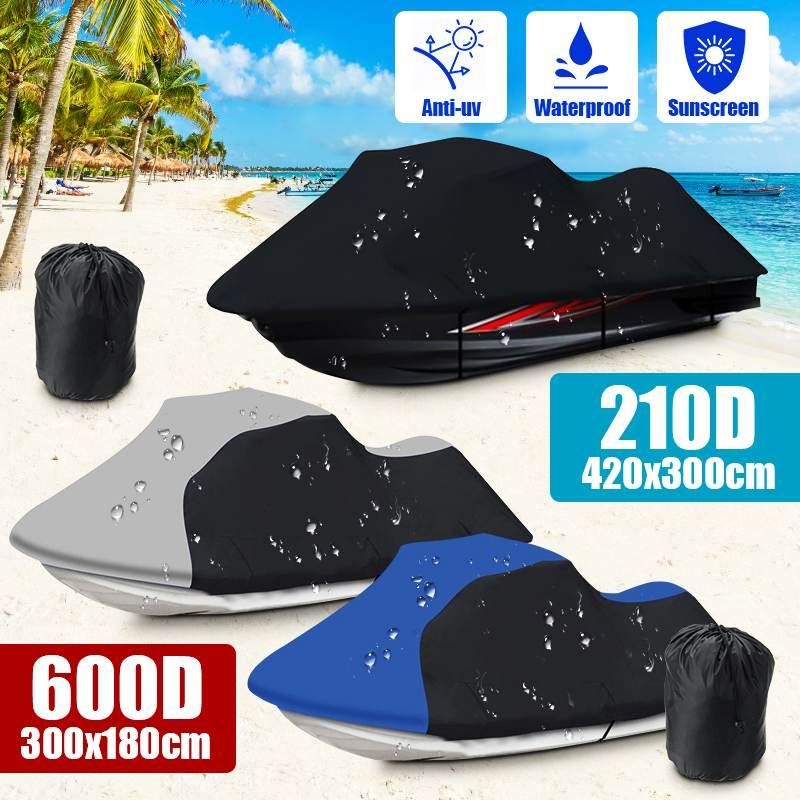 210D 420x300cm imperméable à leau anti-poussière protection solaire Jet Ski motomarine bateau couverture protecteur pour Yamaha WaveRunner EXR Sea Doo