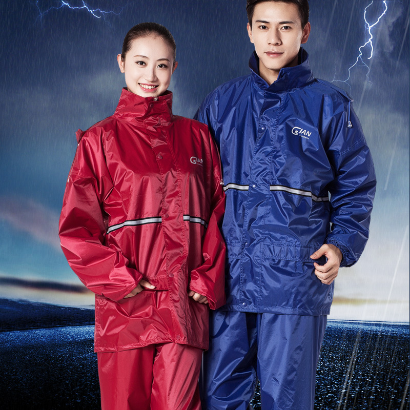 Raincoat Suit Adult Electric Motorcycle Raincoat Fashion for Men And Split Type Riding Raincoat And Rain Pants Double Layer Set