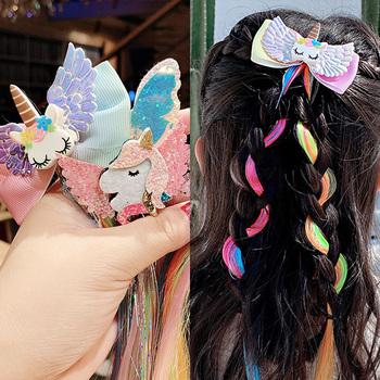 Dziewczyny śliczne kolorowe peruki Cartoon jednorożec spinki do włosów słodkie włosy księżniczki Ornament pałąk spinki do włosów dla dzieci moda akcesoria do włosów tanie i dobre opinie PjNewesting Poliester Nakrycia głowy girls hair accessories