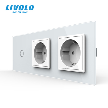Livolo EU Standard New Power Socket, AC 220~250V,Crystal Glass Outlet Panel, 2Gang Wall Sockets with Touch Switch,no logo - discount item  35% OFF Electrical Equipment & Supplies