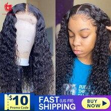 Парик с глубокой волной, парики из человеческих волос на сетке спереди для чернокожих женщин, Бразильские короткие вьющиеся человеческие п...