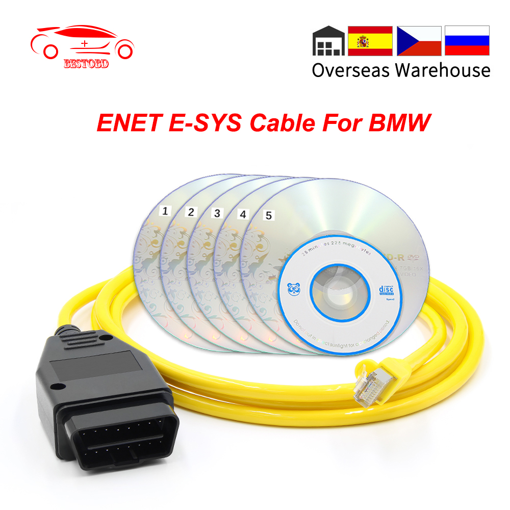 E-SYS ENET For BMW F-series ICOM OBD2 Coding Diagnostic Cable Ethernet to OBD ESYS Data OBDII E-SYS Coding Hidden ENET Data Tool