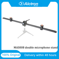 Original Alctron MAS008 Double Microphone Stand Stereo Recording Dual Microphone Stand For Live Streaming Studio Sound Recor