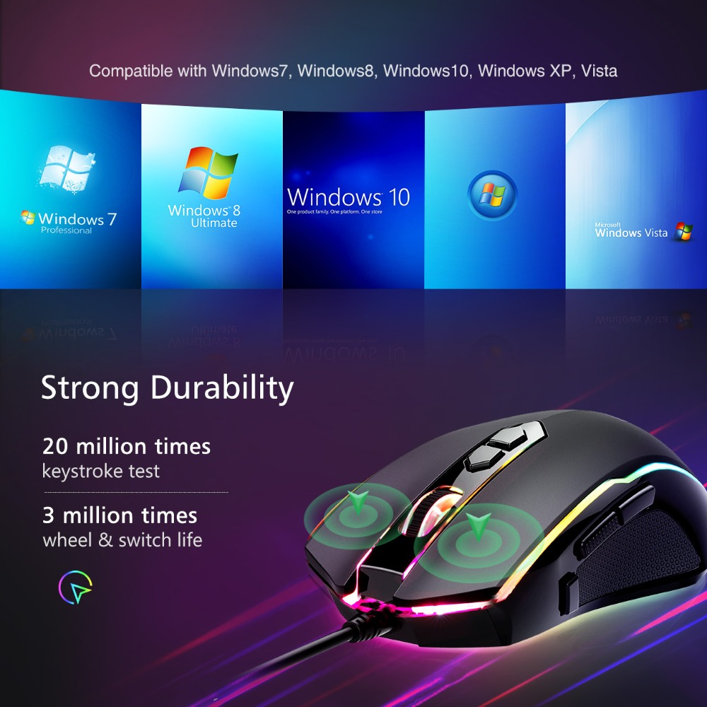 VicTsing PC205 Wired Gaming Mouse 8 Programmable Button 7200 DPI USB Computer Mouse Gamer Mice With RGB Backlight For PC Laptop (6)