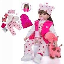 Реалистичная зимняя одежда Reborn Baby для девочек, 22 дюйма, 55 см, розовая принцесса, рождественский подарок, плюшевые игрушки для детей, милая де...