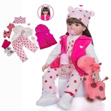 Reborn Baby Lifelike 22 inch 55CM Girl Pink Princess Winter Clothes Christmas Gift