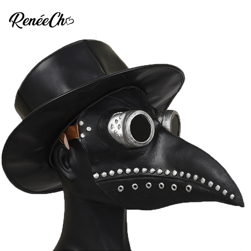 Plague Doctor Mask Cosplay Steampunk Bird Beak Long Nose plague Latex Masks Masquerade Carnival Halloween Party Costume Props
