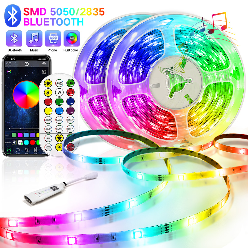 Bluetooth Led Strip 5M-30M 5050/2835 LED Strip Light led ribbon rgb led diode tape waterproof Controller power adapter for Home