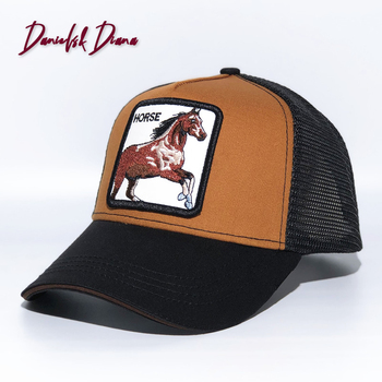 2020 CARZY Horse New Summer trucker cap mesh snapback hip hop hats for men embroidery baseball cap GRIZZLY BROWN TRUCKER недорого
