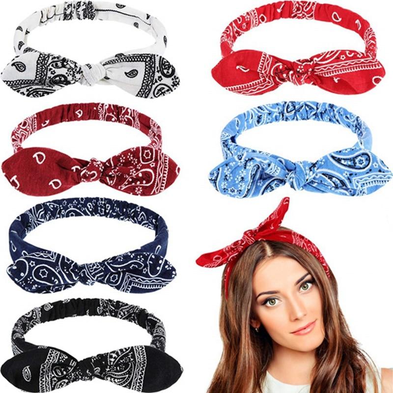 Женские милые повязки для волос, повязки на голову с принтом, аксессуары для волос в стиле ретро, перекрестный тюрбан, банданы, повязка для в...
