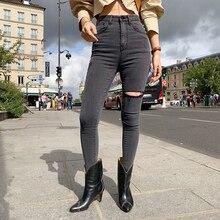 QoerliN Vintage Jeans Korean New High Waist Washed Black Gray One-Leg Cut Slim Jeans Denim Trouser Plus Size Retro Jeans Denim
