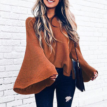 Women O Neck Flare Sleeve Sweater Casual Solid Loose Knitting Sweaters  Autumn Winter  Pullovers Sweaters Streetwear цена и фото