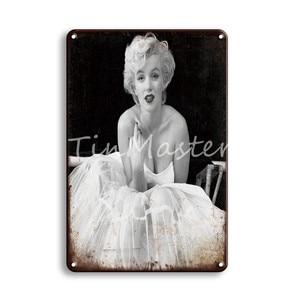 Винтажный сексуальный пин-ап девушка постер для душа металлический знак Ретро Монро Хепберн арт-плакат жестяная пластина шикарная ванная к...