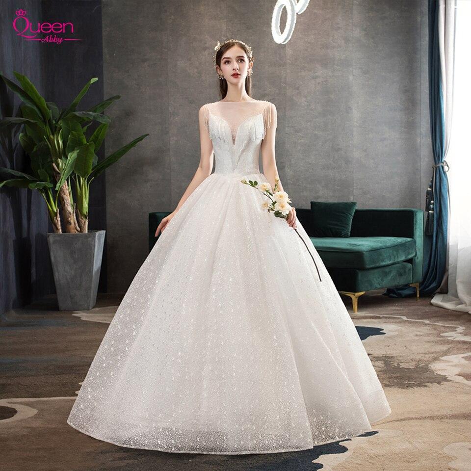 White Wedding Dresses 2020 Lace Luxury Tassel Bridal Ball Gowns V-neck Floor-Length Lace-up Wedding Dresses Vestido De Noiva