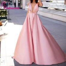 Sexy Pink A-Line Prom Evening Dresses 2020 Vintgae Spaghetti Backless Formal Party Gown Cheap Plus Size V-Neck вечерние платья цена 2017