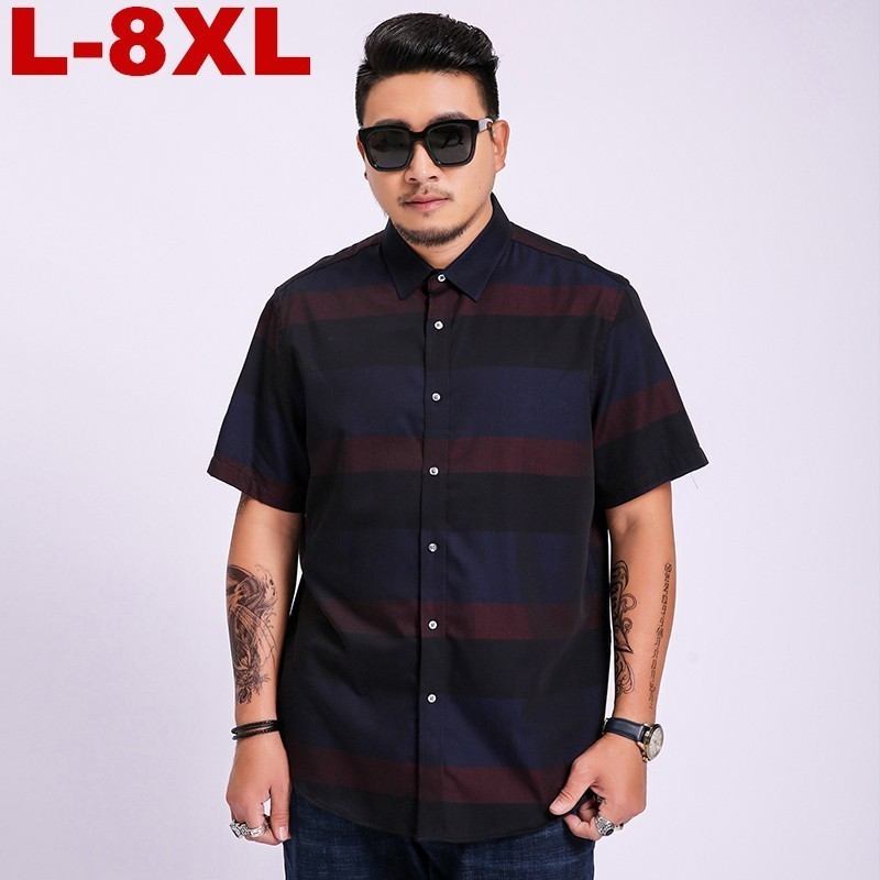 Plus Size  6xl 7xl 8xl Men's Short Sleeve Shirts Casual High Quality Striped Color Formals Dress Shirt For Men's Shirts Slim Fit