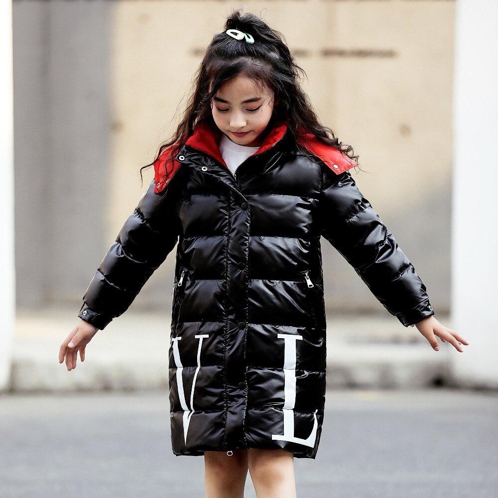 -30 graus Crianças Meninos Inverno quente Para Baixo casaco Casacos Roupas crianças Engrosse Com Capuz Longo Parka Meninas roupas à prova d' água de Prata