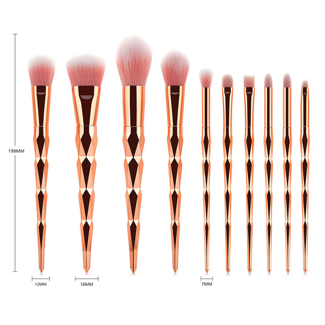 10 Piece Gold Diamond Brush Set