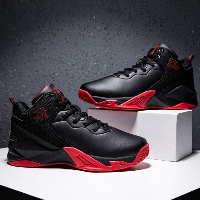2019 autumn and winter men's basketball shoes junior high school students leather waterproof wear-resistant shock-absorbing boot