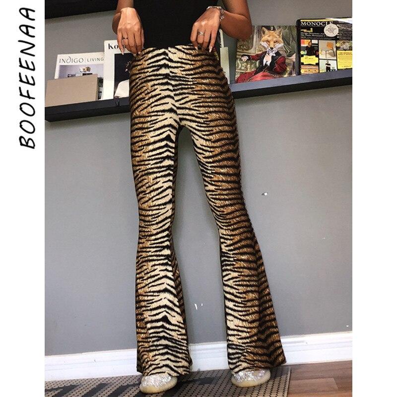 BOOFEENAA Tiger Cheetah Print Stretch Flare Pants Women High Waisted Bell Bottoms Autumn Plus Size Wide Leg Trousers C70-AZ93