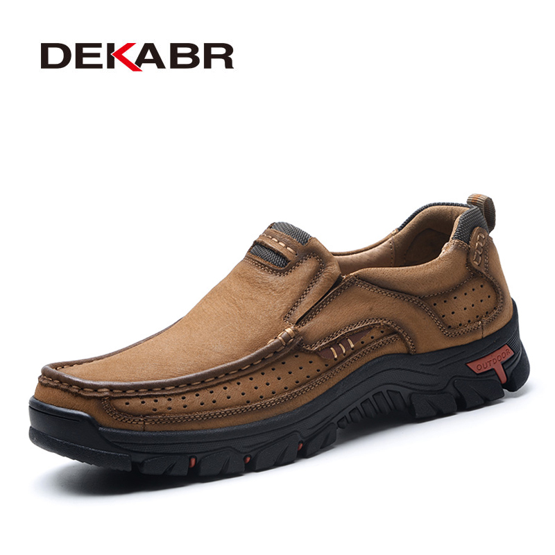 DEKABR Size 38-48 New Genuine Leather Shoes Men Cow Leather Casual Shoes Men High Quality Men Flats Walking Slip-On Men Shoes