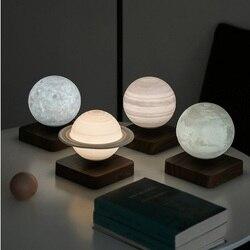 Ночной светильник креативный 3D магнитной левитации Moon лампа вращающийся Рождественская светодиодная плавающая лунный светильник украшен...