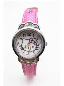 Children's Watch Production-Watch Diamond-Girl Waterproof Student Cute Cat Kt Belt Professional