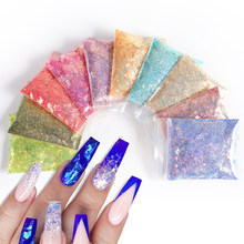 10g/Bag Summer Holographic Nail Glitter Powder Sparkle Hexagonal Size Super Shinning Mixed Nail Sequins Pigment Dust