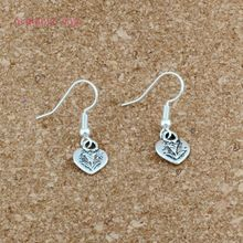 Heart with Rose flower Charm Earrings silver Fish Ear Hook 30pairs/lot Antique Chandelier Jewelry DIY 9x28mm A-531e
