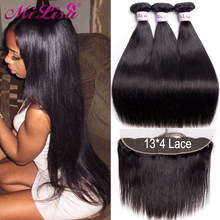 Mi Lisa 3 Bundles With Frontal Malaysian Straight Hair Weave Remy Human Hair Bundle and 13x4 Lace Frontal Closure with Bundles(China)