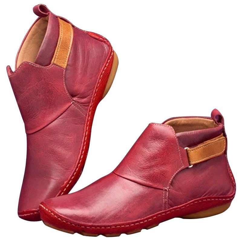 PUIMENTIUA 2020 yeni sonbahar ayakkabı kadın çizmeler yumuşak rahat PU deri çizmeler kadın yarım çizmeler kadın kışlık botlar rahat patik
