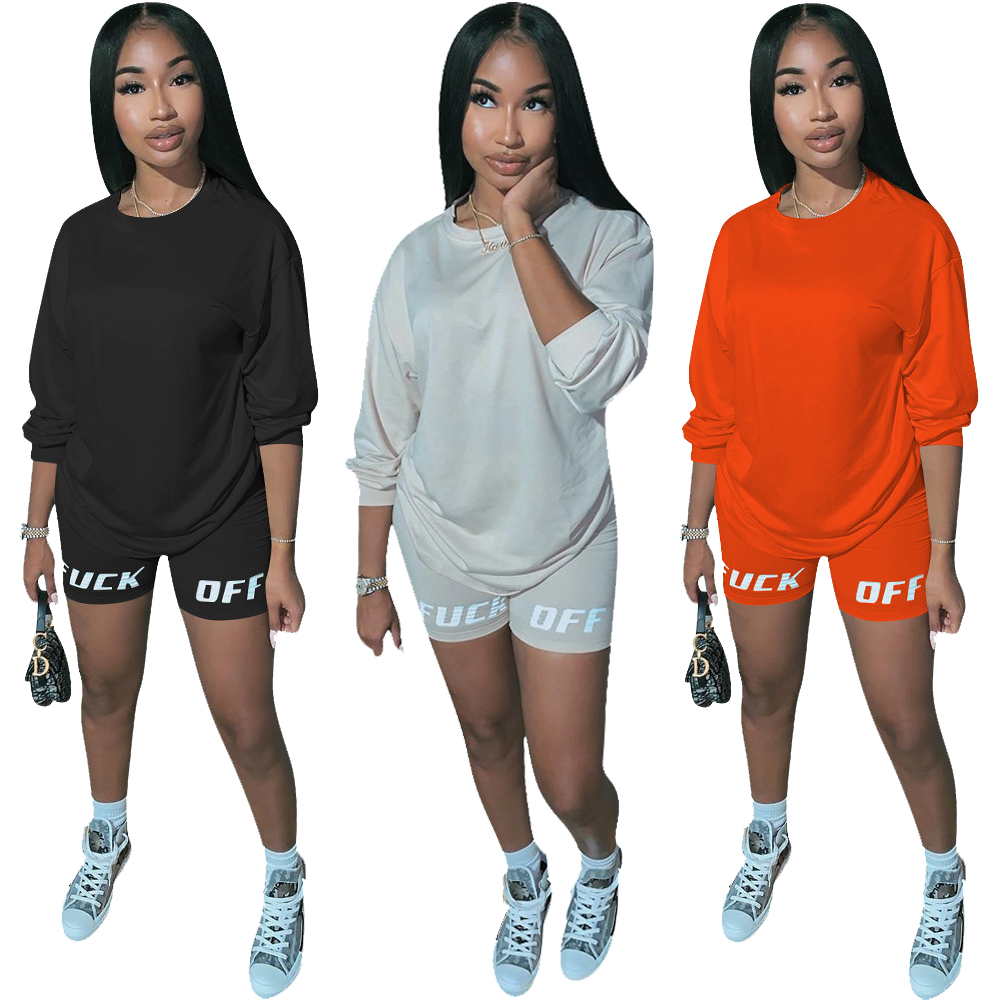 Short Set Women Matching Tracksuit Outfits 2 Piece Set Summer 2020 Fashion Letter Print Casual Jersey Sweatpants Two Piece Set