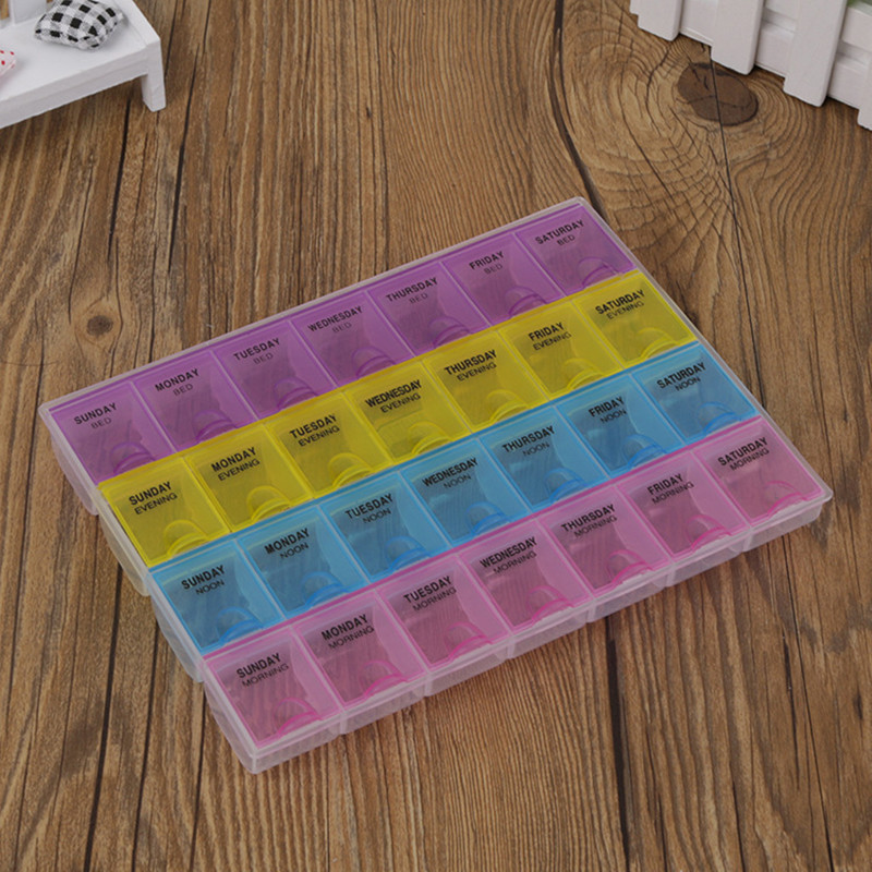 1 шт., 4 ряда, 28 квадратов, 7 дней, Еженедельные таблетки, капсулы, медицинский лекарт, держатель коробки, контейнер для хранения, чехол, коробка...