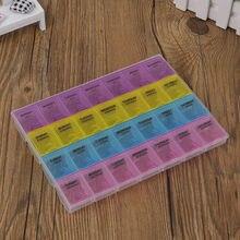 Tablet, 1 peça, 4 fileiras, 28 espaços, 7 dias semanais, tablet, remédios, suporte, organizador de armazenamento, caixa de comprimidos divisor divisor