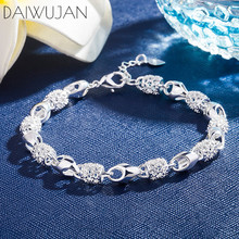DAIWUJAN INS Hot 925 Silver Charm Bracelets For Women Hollow Beads Exquisite Bracelet Fine Jewelry Wedding Birthday Gift