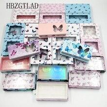 20pcs del commercio allingrosso della farfalla piazza ciglia finte scatola di imballaggio falso 3d ciglia di visone scatole faux cils di caso magnetico ciglia vuoto