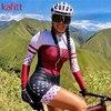 Kafitt triathlon terno conjuntos de camisa de ciclismo feminino uniforme manga longa skinsuit macacão macaquinho ciclismo feminino 13