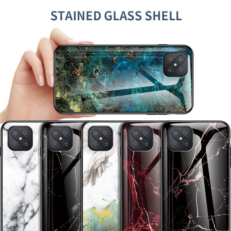 Luxury Marble <font><b>Glass</b></font> <font><b>Case</b></font> for <font><b>OPPO</b></font> A92S A52 A91 A83 A92020 Hard Cover for <font><b>OPPO</b></font> A5 A7 A8 A7X <font><b>A3S</b></font> A12 e Anti-fall Protection <font><b>Cases</b></font> image