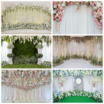 Laeacco Photographic Backdrops Photocall Flowers Curtain Wedding Party Photophone Vinyl Photography Backgrounds for Photo Studio yeele flowers vinyl photographic backgrounds baby shower photo newborn photography backdrops wedding photocall for photo studio