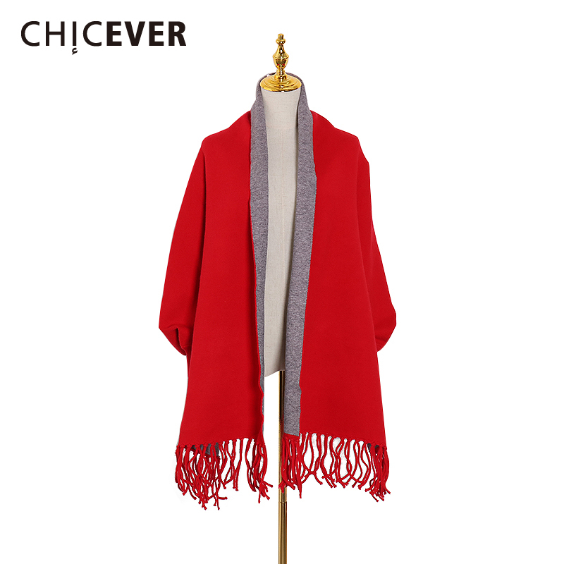 CHICEVER Patchwork Hit Color Knitted Scarf For Women Tassel Large Size Long Warm Scarves Female Fashion 2020 Clothes Decorations
