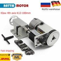 EU/RU SHIP 4 jaw chuck 4th Axis K12 100mm CNC dividing head/Rotation Axis & Tailstock for Mini CNC router engraving