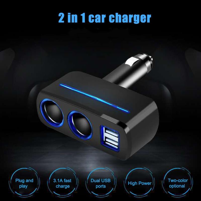 Dual USB Charger 2 Way Car Cigarette Lighter Socket Splitter Adapter DC 12V/24V Universal F-Best